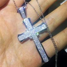 Vecalon 手作りヒップホップビッグクロスペンダント 925 スターリングシルバー Cz 石ヴィンテージペンダントネックレス女性のための結婚式の宝石類(China)