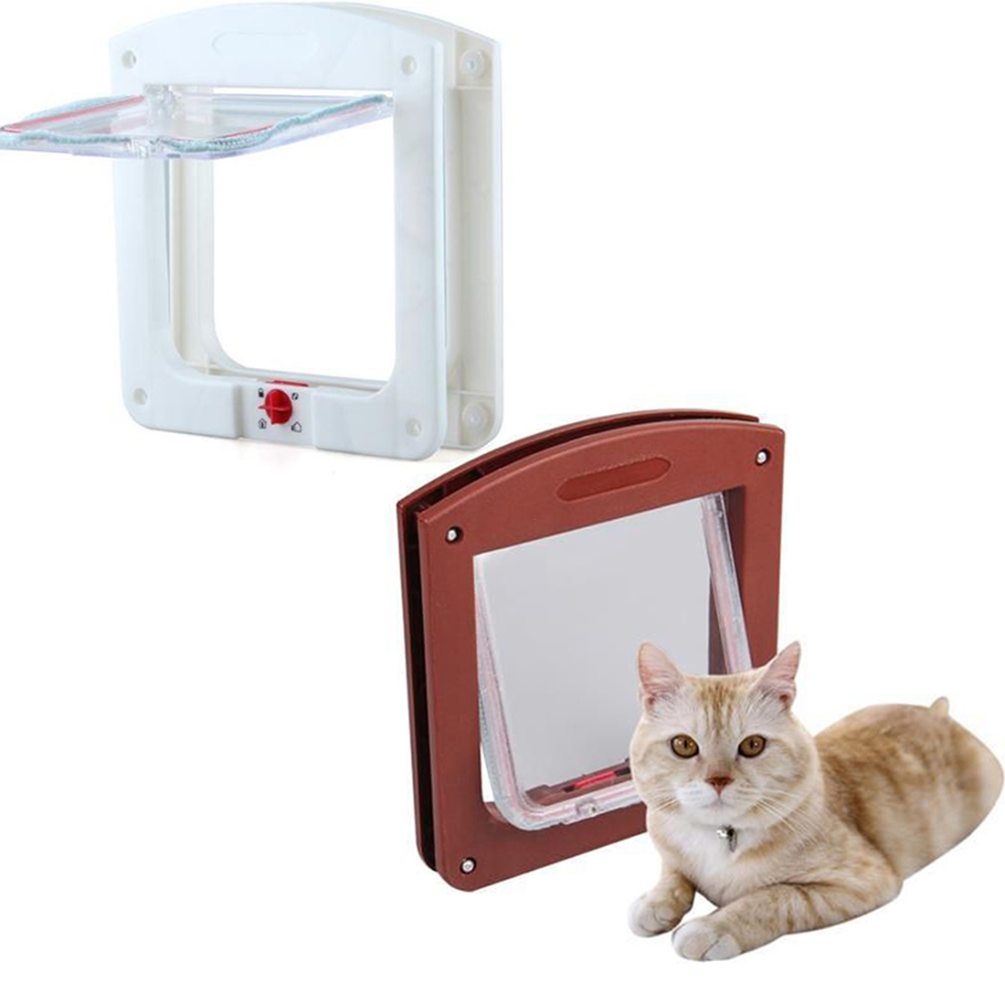 2016 Newest Durable Plastic 4 Way Cat Dog Small Waterproof Pet Locking Door Flap fast delivery(China (Mainland))