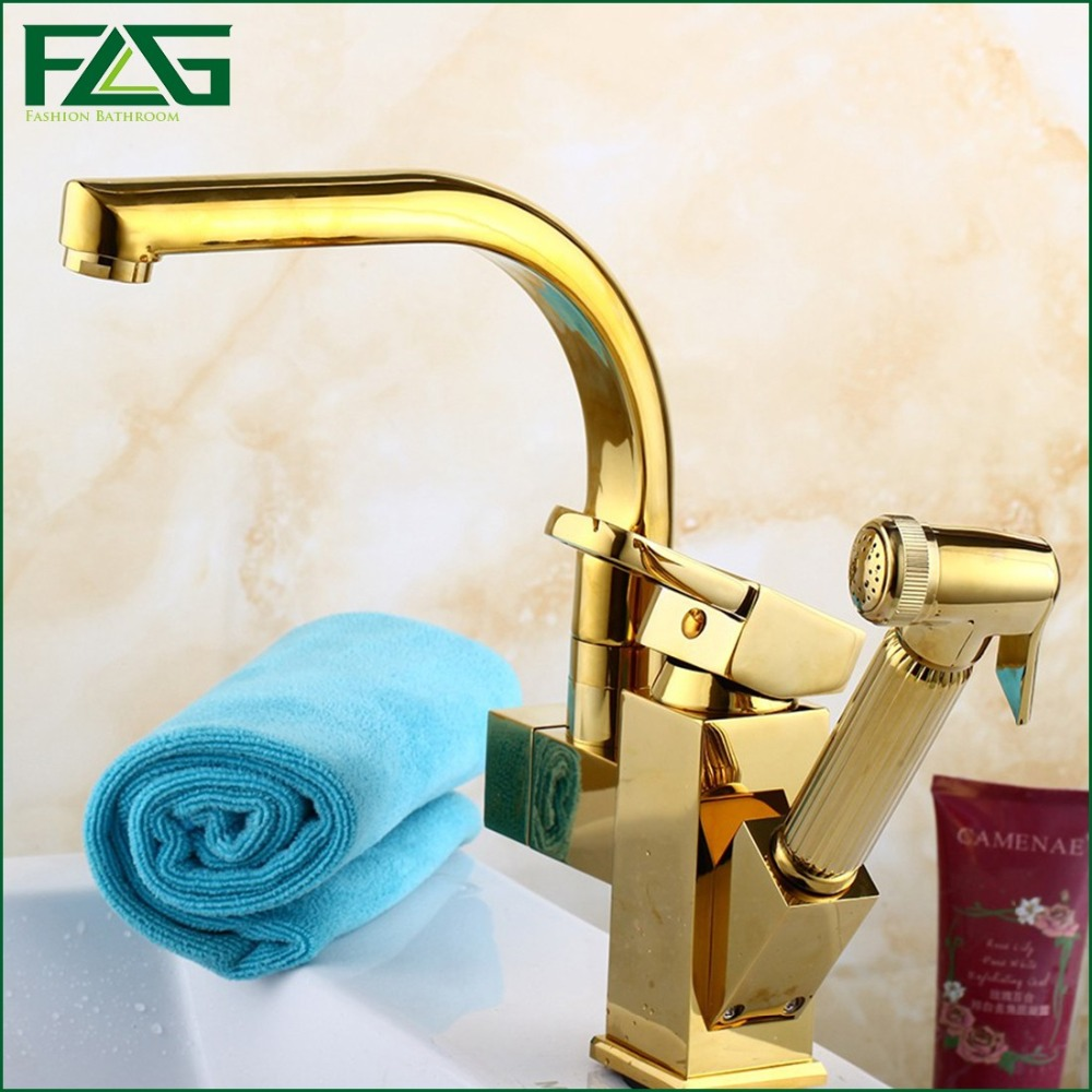 Kitchen Faucet Gold Hand Sprayer Rotatable Dual Sprayer Rubinetto Deck Mounted Cold & Hot Kitchen Faucet Pull Out Mixer FLG8020(China (Mainland))
