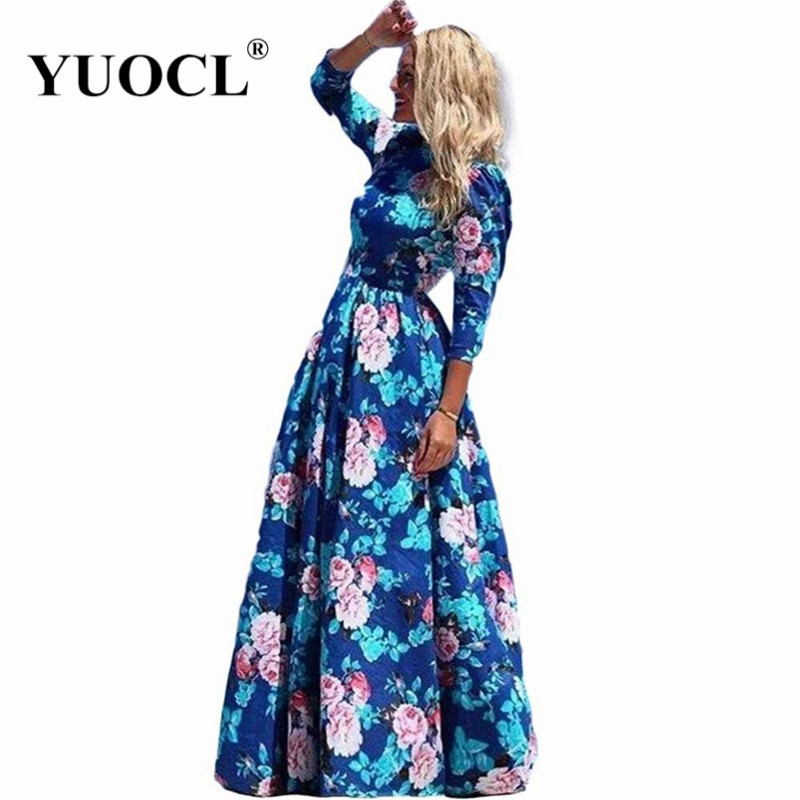 yuocl hot sale vestidos 2016 new fashion women summer dress print long maxi dresses beach dress. Black Bedroom Furniture Sets. Home Design Ideas