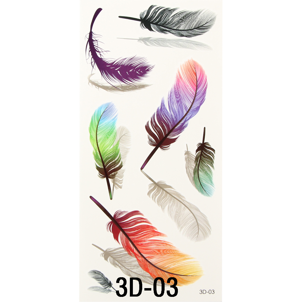 1PC Inspire Colorful 3D On Body Art Chest Shoulder Finger Stickers Glitter Temporary Flash Tattoos Removal Fake Small Feathers(China (Mainland))