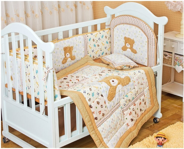 Discount! 6PCS embroidery Baby Bed Sets Free Shipping Baby Crib Bedding Sets,include (bumper+duvet+pillow)<br><br>Aliexpress