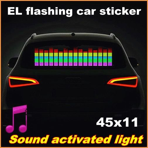 45x11 Genuine High Quality  Equalizer Sound Active flashing EL car Sticker  5colors Car Music Rhythm Lamp CE RoHS free shipping