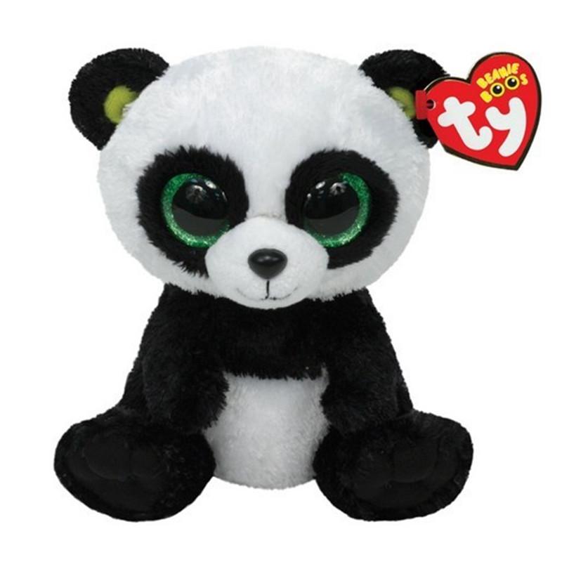 Ty Panda Plush Toy 16 cm TY Beanie Boos Big Eyed Stuffed Animals Bamboo Panda Kids Plush Toy For Children Gifts 15CM Ty Q024(China (Mainland))