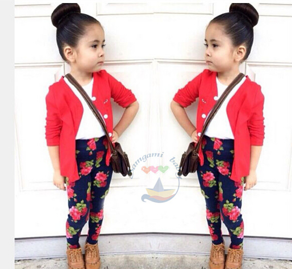 BCS192 free shipping 2015 spring autumn style lady clothing set flower print leggings children suit top quality baby set retail(China (Mainland))