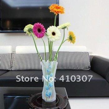 Folding Flower PVC Vase Eco Friendly Foldable Plastic Durable Vase Bowl Home Wedding Party Easy to Store Freeshipping(China (Mainland))