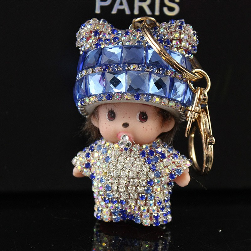 10 color monchichi Keychain dolls keychains fake fur Keychain pompom pumponchik Keychain fur llaveros pompom llaveros mujer