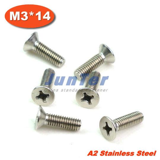 100pcs/lot DIN965 M3*14mm Stainless Steel A2 Machine Phillips Flat Head (Cross recessed countersunk head screws) Screw<br><br>Aliexpress