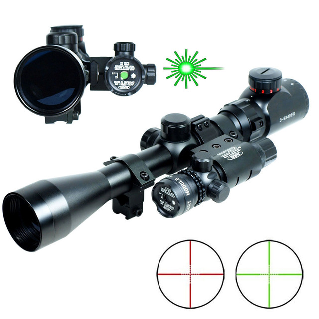 Free shipping Airsoft Professional 3-9x40 Hunting Rifle Scope Mil-Dot illuminated Snipe Scope &amp; Green Laser Sight <br><br>Aliexpress