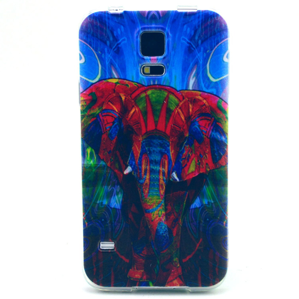 For Samsung Galaxy S5 Case, 2015 New Arrival Colorful Epleant Pattern Soft TPU Scratch-Proof 3D Phone Case For Samsung S5(China (Mainland))