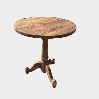 American country wood small round french small side table for Small wooden side table
