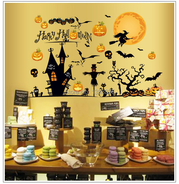 1pcs happy halloween party decoration removable wall for Room decoration products
