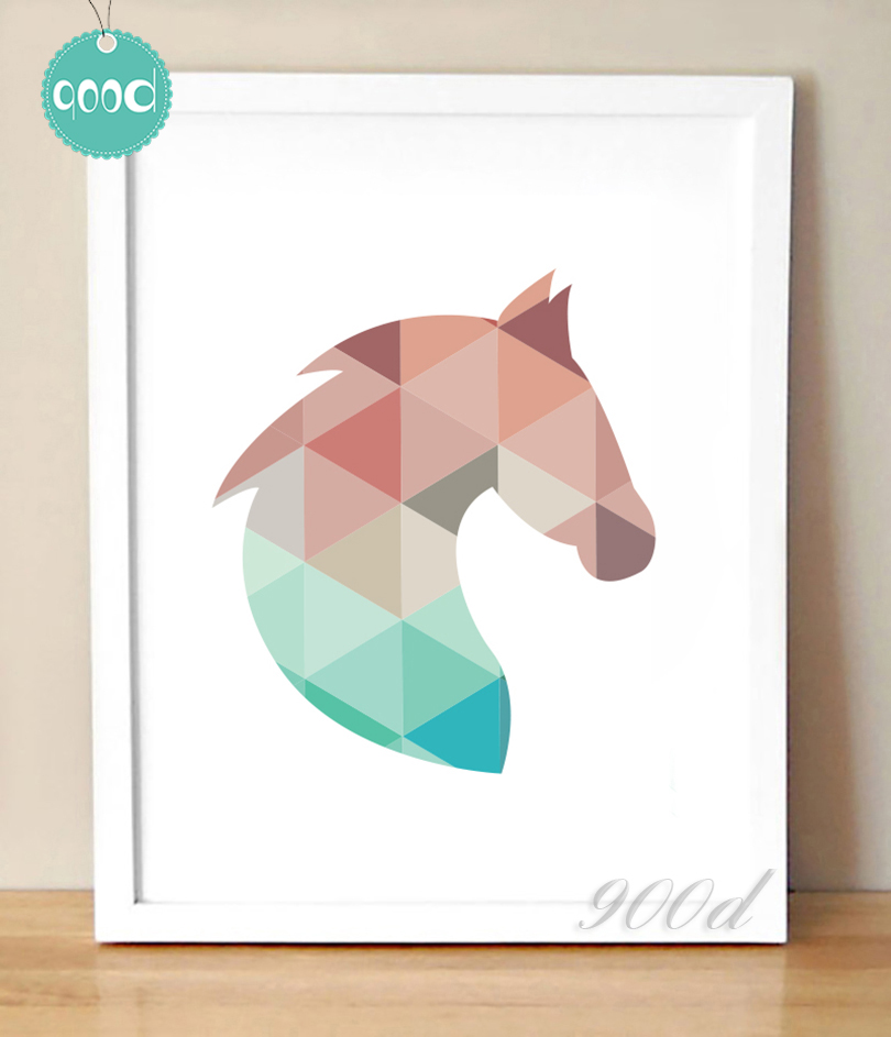 Buy Geometric Horse Head Canvas Art Print Painting Poster Wall Pictures For