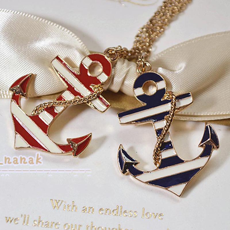 New gros collier Anchor necklace Long gold Chain Pendant Necklace bijoux collier ras de cou Enamel Necklaces Pendants For Men(China (Mainland))