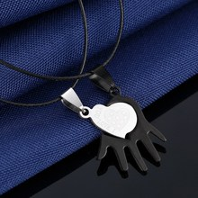 Charms Couples Pendant Necklaces For Women And Men Black Cord of Leather Stainless Steel Puzzle Love