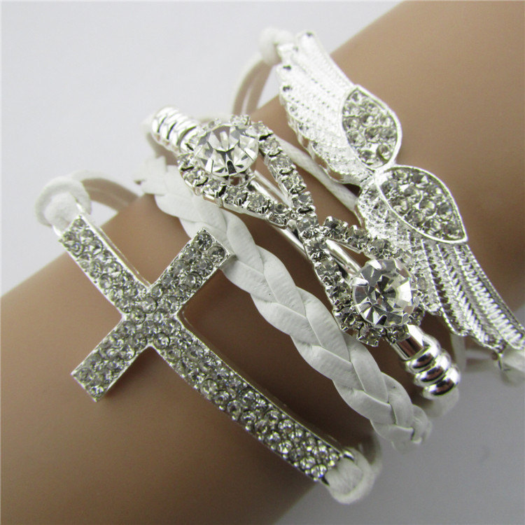 3 Pieces/lot White Leather Braid Bracelets Silver Plate Cross Angel Wing Charm Bracelet Inlaid Full Crystal Wax Cord Woven Wrap.(China (Mainland))