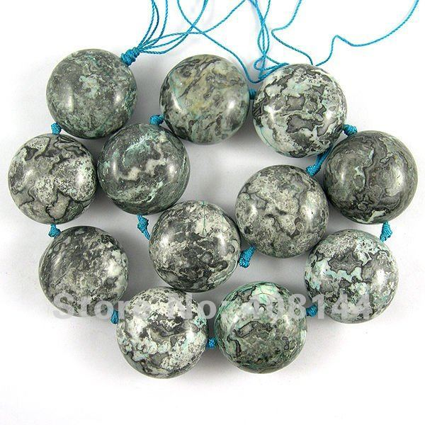 Free Shipping! Charm Blue Crazy Lace Agate Flat Round Loose Beads 30x20mm-12pcs Strand/Loose Stone
