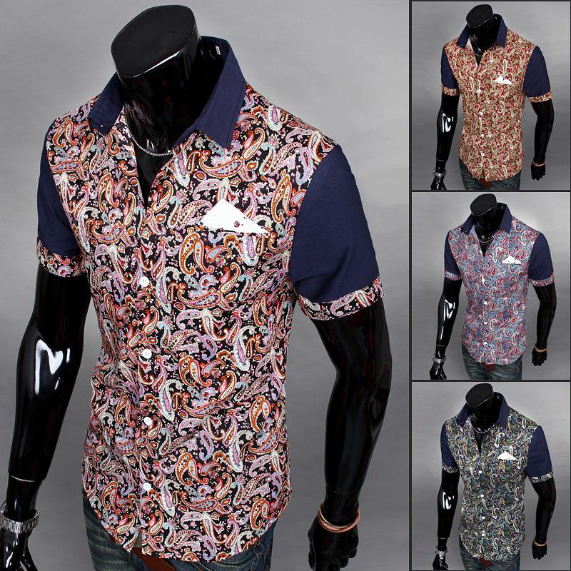 2015 Rushed Real Camiseta Masculina Camisas Camisa Man's Summer The Most Unusual Folk Style Fashion All-match Stitching Shirt(China (Mainland))