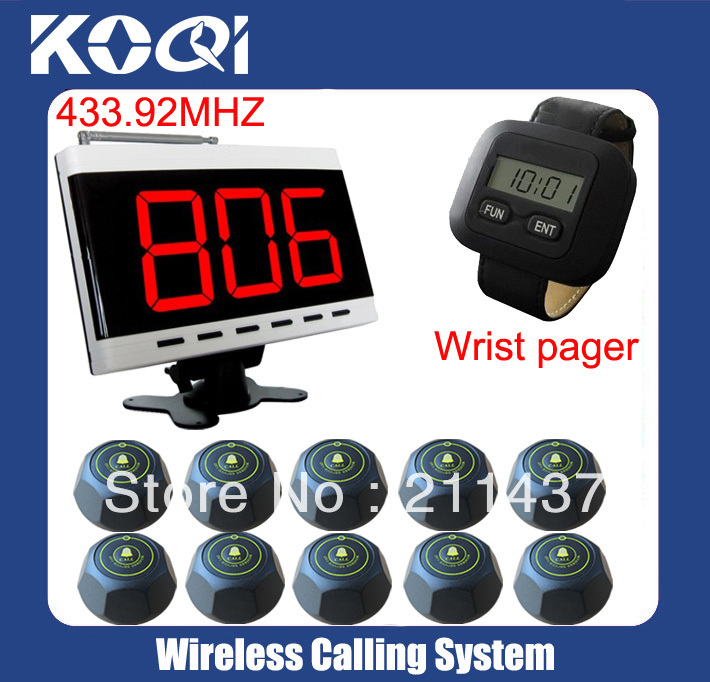 Wireless service calling system paging system for hospital,prison.10 table bells 1 watch reciever 1 desktop display K-303-300-M(China (Mainland))