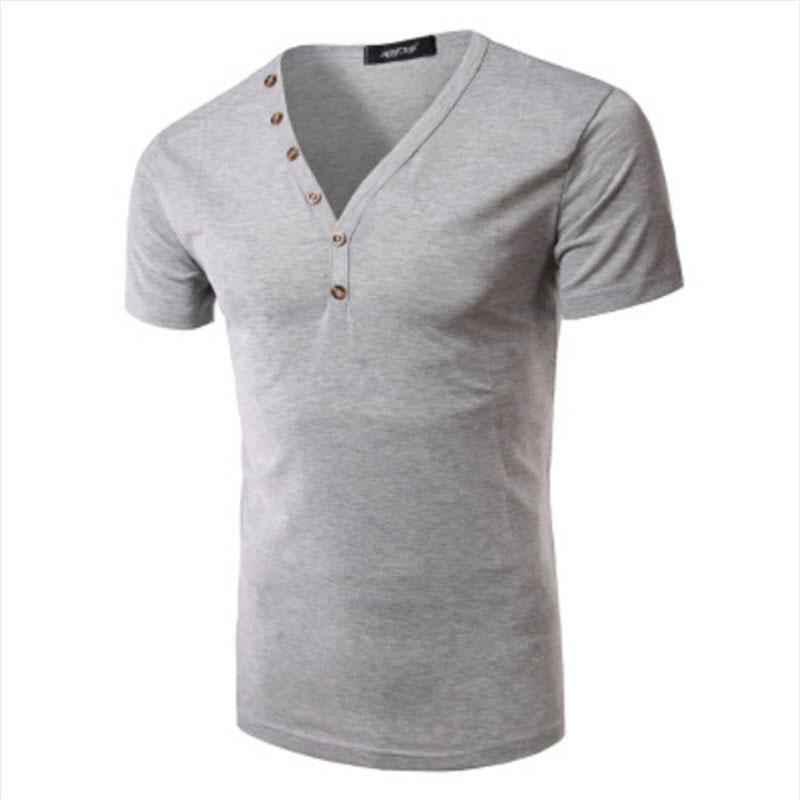 2016 new fashion v neck short sleeve tee shirt casual for T shirt design v neck