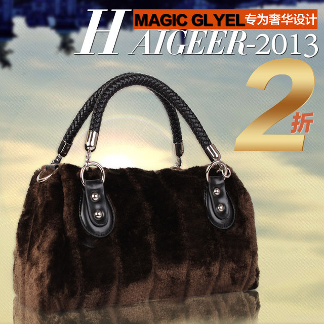 2012 rabbit fur velvet bag handbag cross-body women's handbag t