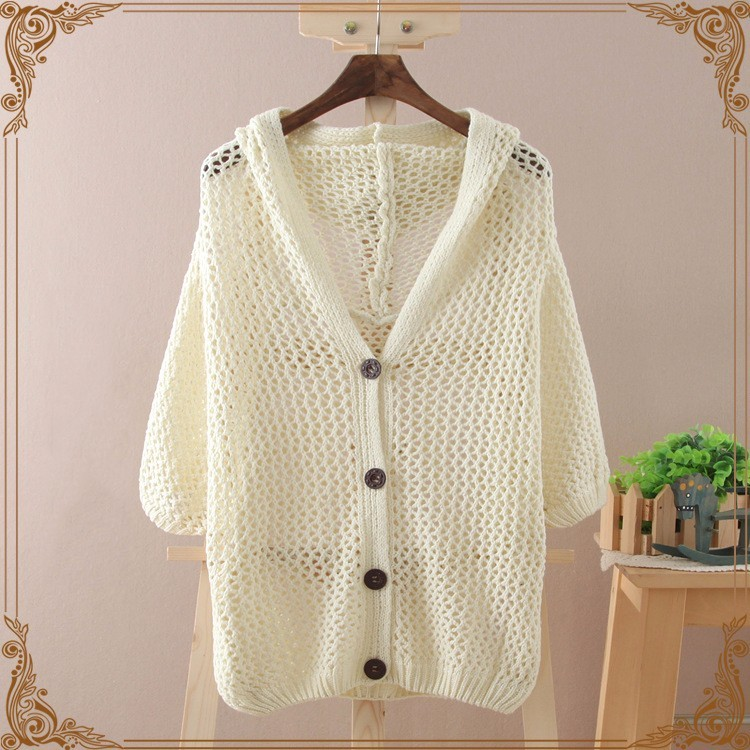 Solid Color Single Row Buckle Hollow Out Half Sleeve Knitting Unlined Upper Garment Cardigan shrug wrap swing women(China (Mainland))
