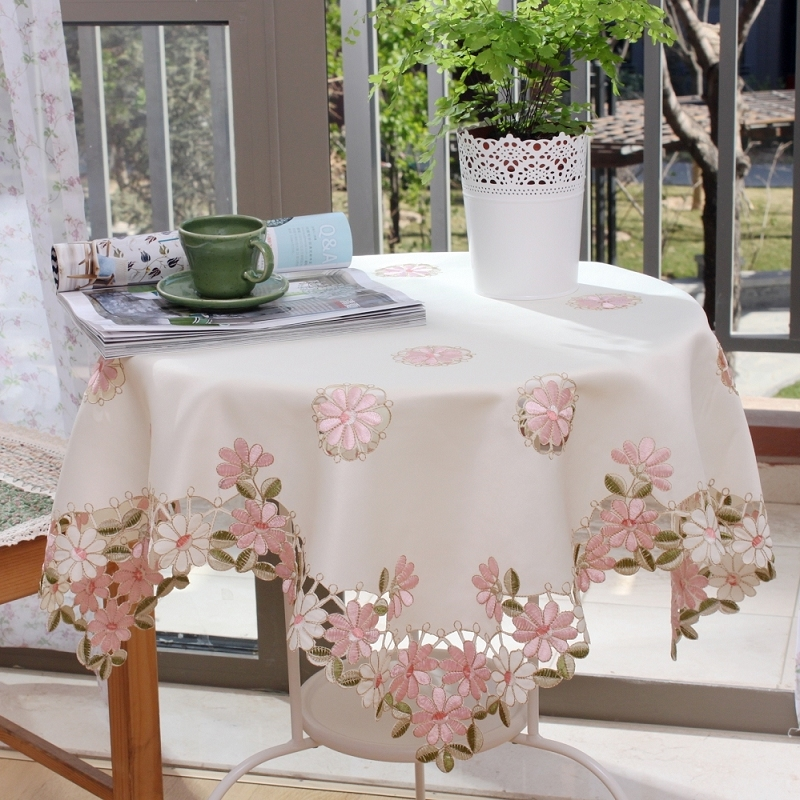 S v modern white tablecloths linen table cloth embroidery - Manteles para mesa ...