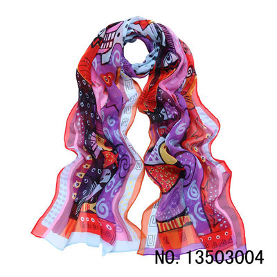 LING/ New Fashion Colorful And Soft Scarf Women,Pussy Cat Printed Seda Cachecol Feminino,100% Silk Scarf,Shawl#2003(China (Mainland))