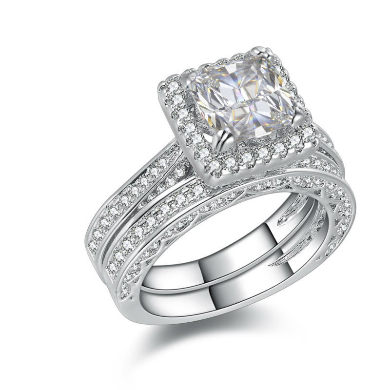 2.8 Carat Princess Cut White Gold Plated Wedding Ring Sets For Women Engagement Band Classic Jewelry(China (Mainland))