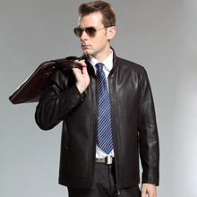 Middle-aged men's leather leather men's casual short paragraph leather jacket collar brand  men's Leather free shipping(China (Mainland))