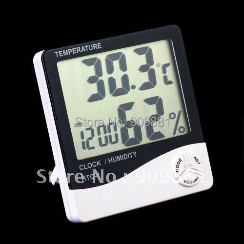 LCD HTC-1 Thermometer Hygrometer Temp & Humidity Clock High Precision Temperature Tester Small And Convenient Free Shipping(China (Mainland))