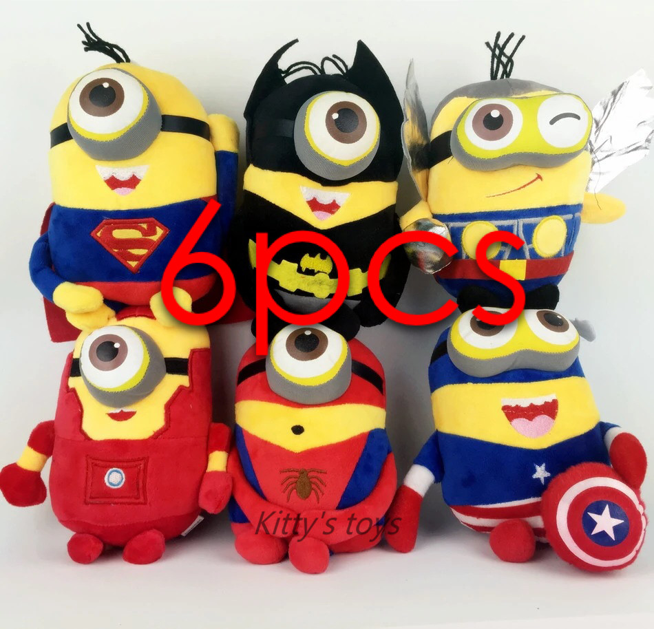 6pcs/lot 23cm 3D Eyes Despicable Me Brinquedos Minions Captain America Superman Spider-Man Batman Plush Toys Discount Avengers(China (Mainland))