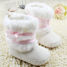 Warm Baby Girl Winter Toddler Boots With Butterfly-knot Anti-slip Shoes(China (Mainland))