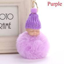 Bonito Chaveiro Coelho Faux Fur Pom Pompom Fofo Bebê Dormindo pon Chapéu Feito Malha Do Bebê Boneca Keychain Car Chaveiro Toy Ano Novo presentes(China)