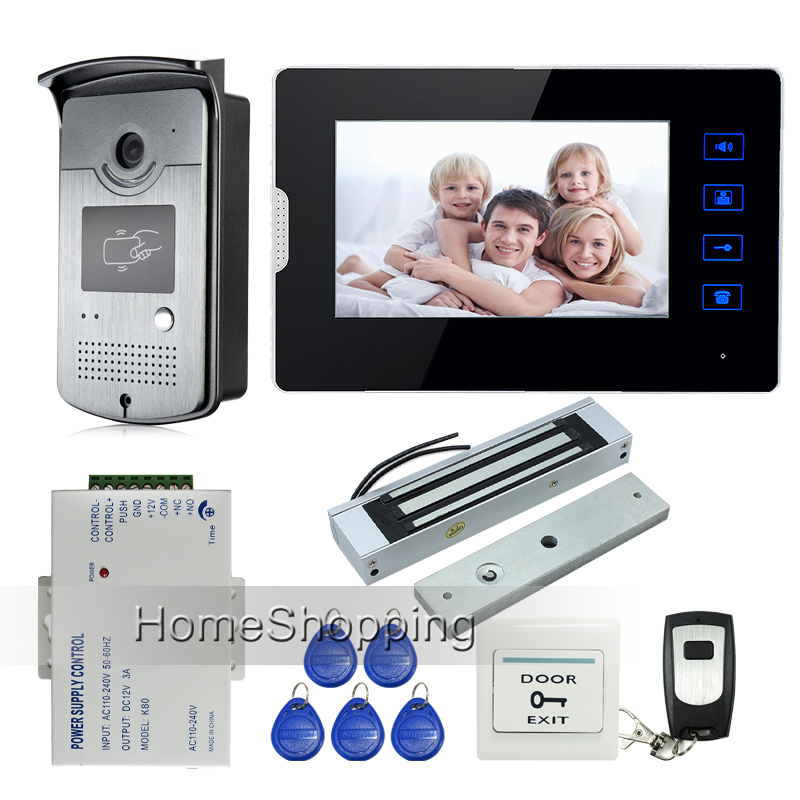"""New Wired 7"""" Touch Screen Video Door Phone Intercom + 1 Monitor + 1 RFID Access Camera + Electric Magnetic Lock FREE SHIPPING(China (Mainland))"""