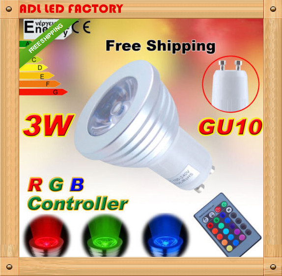 RGB LED Lamp AC85-265V 3W E27 E14 GU10 Led 16 Color Bulb Changeable Lamp multiple colour with Remote Control Led Lighting(China (Mainland))