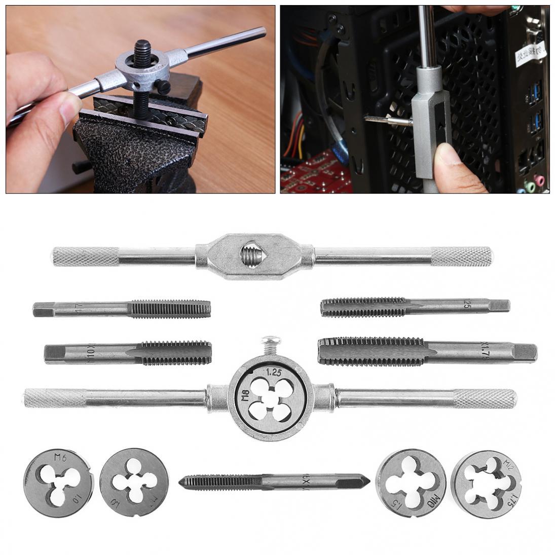12PC Metric Tap Die Kit M6 M7 M8 M10 M12 Screw Threading Wrench Mold Tool w//Case