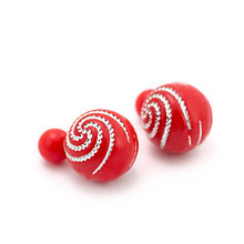 Newest Fashion Jewelry Simulated Ball Pearl Double Sides Stud Earrings Shinning Crystal Dot For Women Accessories Brincos