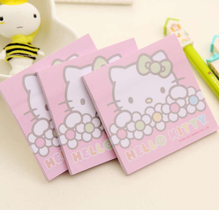 Гаджет  Kawaii Hello Kitty Cartoon Sticky Notes Paper Stickers Memo Pad Bookmark Marker FOD None Офисные и Школьные принадлежности