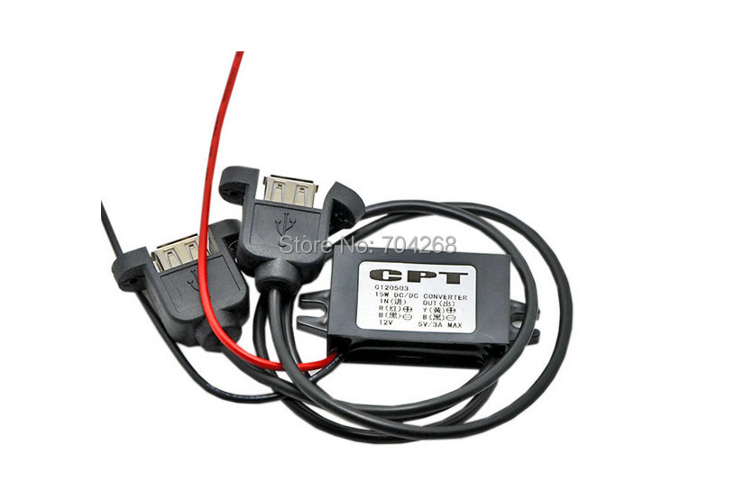 DC 12V to 3V car Converter step down 3A Dual USB Panel Mount Car Charge CPT New(China (Mainland))