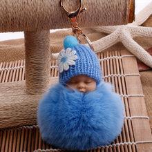Sono Do Bebê Boneca Chaveiro Flor Pompom Bola de Pêlo de Coelho Fofo porte clef Chaveiro Saco do Anel Chave Do Carro Da Corrente Chave(China)
