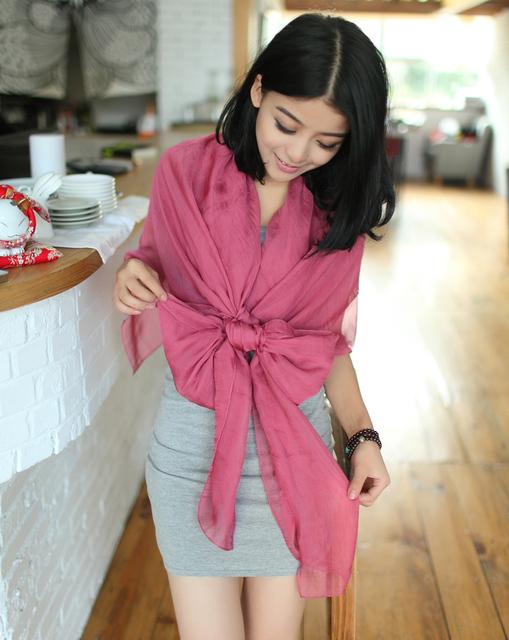 Fashion women's design long scarf solid color plain silk scarf cape