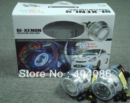 HID Projector Lens Bixenon Headlight Kit Lamp Bulb H1 H4 H7 9004 9005 9006 8000K+ CCFL Halo Angel Eye + 18 Month Warranty(China (Mainland))