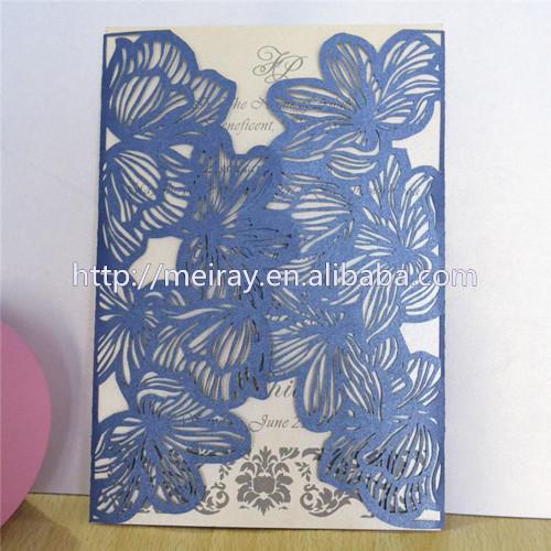 100pcs Lot Latest Indian Wedding Card Design Laser Cut Wedding Invitations Royal Blue