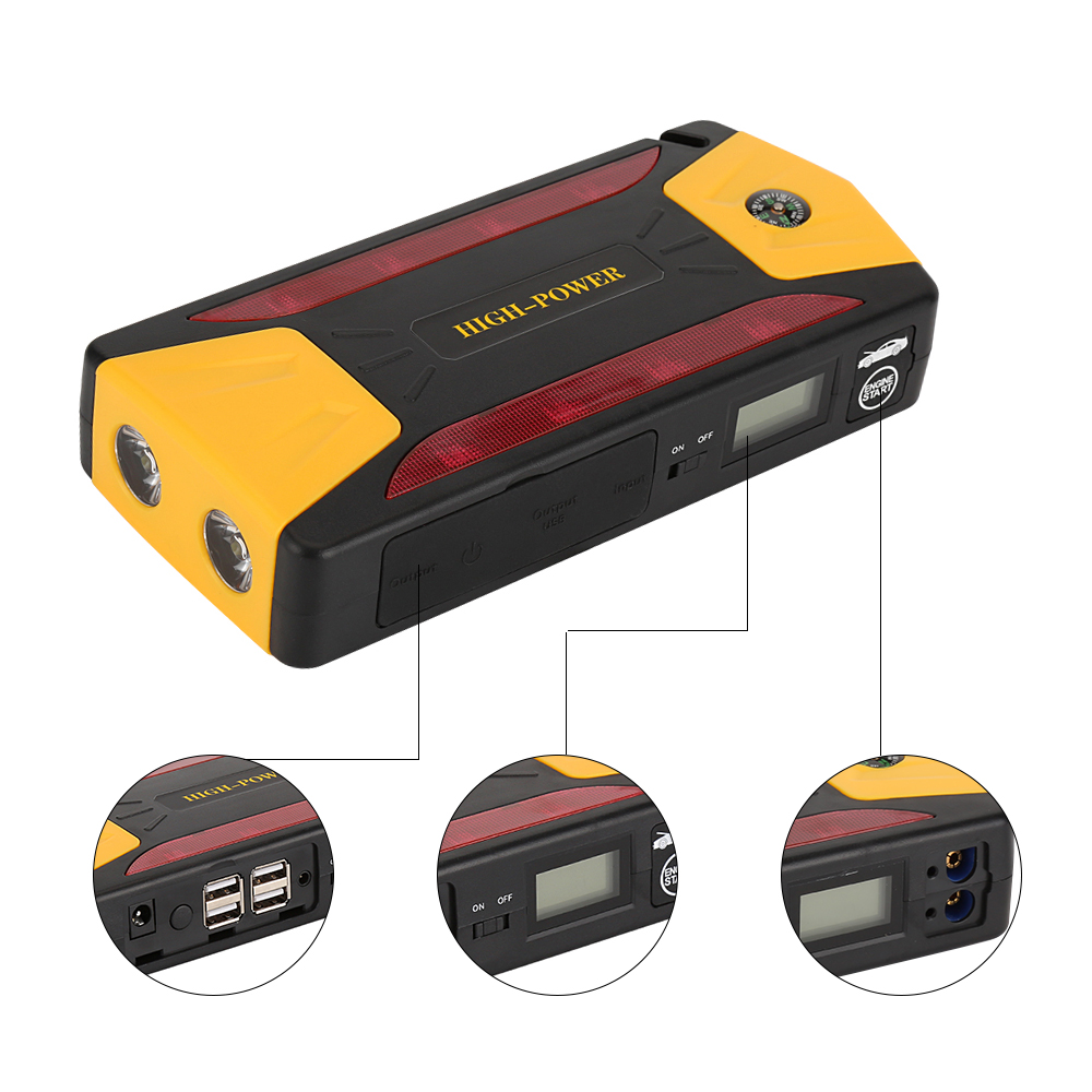 82800mAh 12V Car Jump Starter Pack Booster Charger Battery Power Bank Multi-function Vehicle Start Jumper Emergency Auto Battery