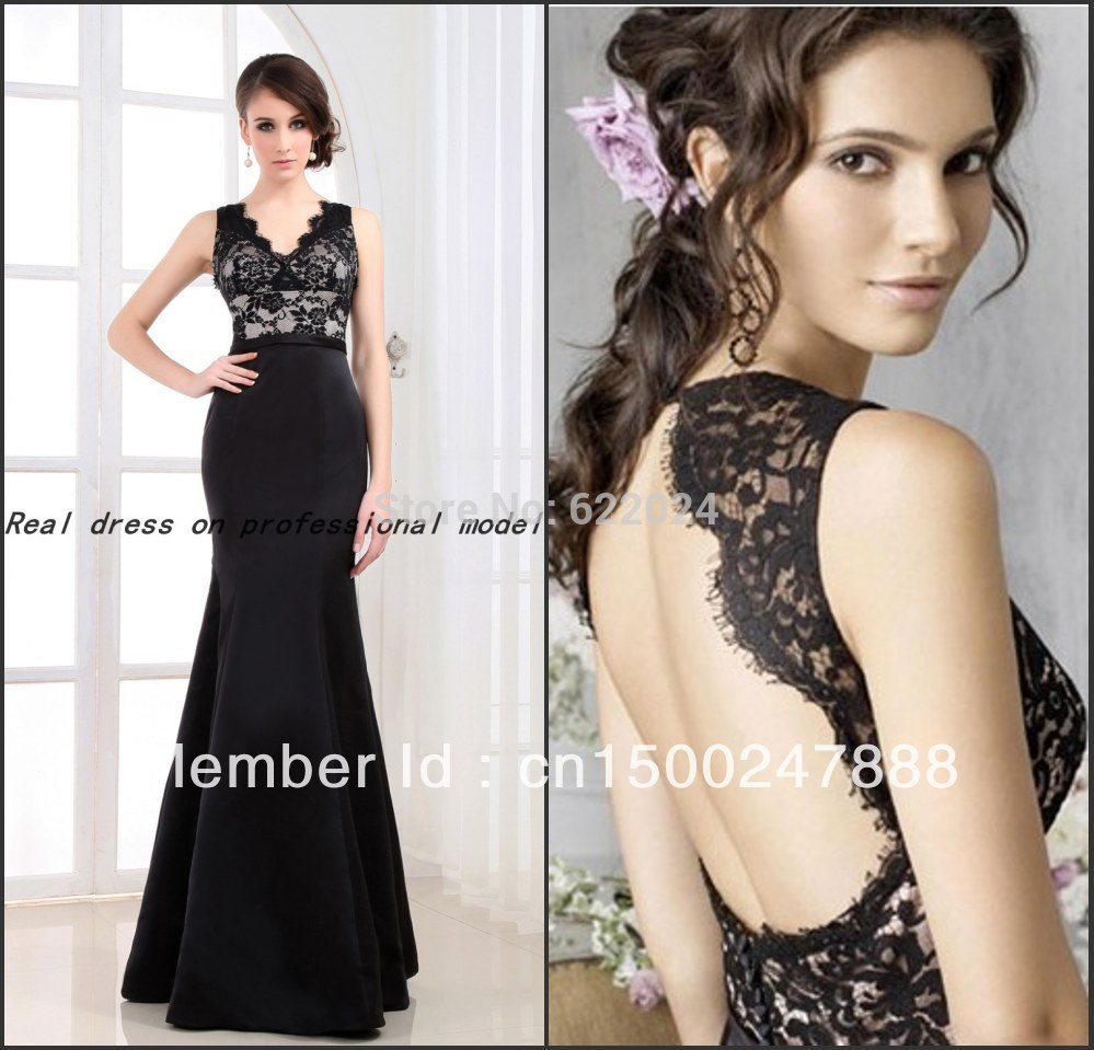 2015 Real pictures photo sample Mermaid Black Lace Bridesmaid Dress With Open Back 2015 Trumpet Satin Gowns(China (Mainland))