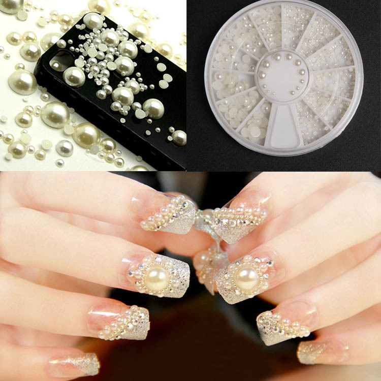 3D Fashion White Nail Art Tips Pearl Acrylic Gem Glitter Manicure DIY Decoration Drop Shipping NA-0050(China (Mainland))