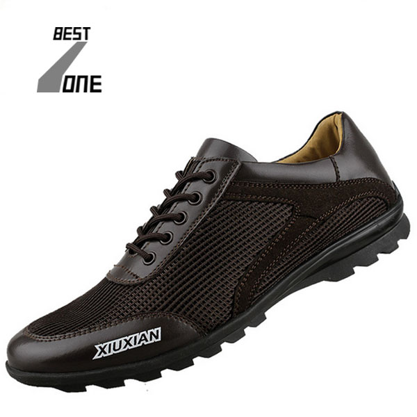 BZ 2015 New Mens Shoes Casual Genuine Leather Mesh Lace Black men casual shoes Chaussure Homme