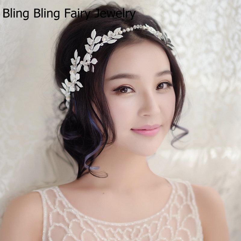 2016 New Arrival White Leaf Headband Wedding Hair Accessories Handmade Crystal Pearl Bridal Headpiece, Free Shipping(China (Mainland))