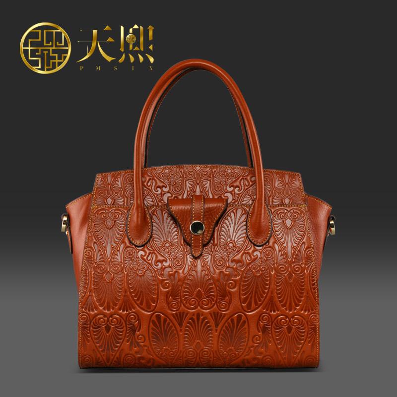 Luxury Chinese Style Designer Brand Women Bags 2016 Genuine Leather Cowhide Embossed Handbags Tote Bag 11004<br><br>Aliexpress